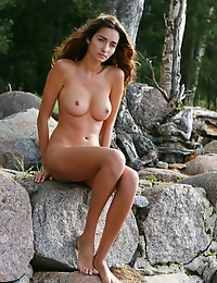 Carefree brunette with refined and uninhibited poses. - Gabrielle B - Nature Walk